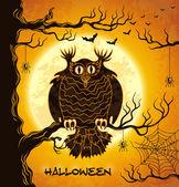 可怕的猫头鹰、 满月、 蝙蝠和蜘蛛 — 图库矢量图片
