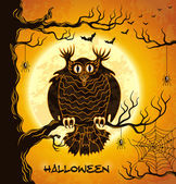 Terrible owl, full moon, bats and spiders — Stock Vector