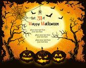 Scary pumpkins, full moon, trees and bats — Stock Vector