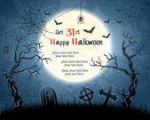 Luna llena, árboles, piedras sepulcrales y murciélagos — Vector de stock
