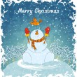 Royalty-Free Stock Imagem Vetorial: Merry snowman with bird