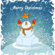 Royalty-Free Stock Vector Image: Merry snowman with bird
