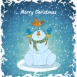 Stock Vector: Merry snowman with bird