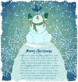 Merry snowman with bird on hill — Stock Vector