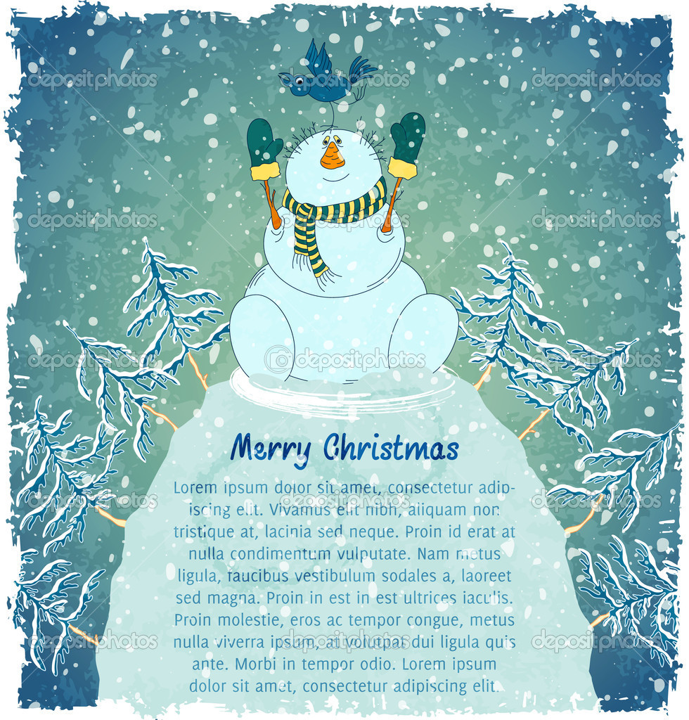 Merry snowman with bird on hill. Christmas landscape with snowfall. Blue vintage background. Vector Illustration. — Stock Vector #13862146