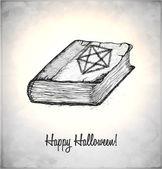 Heksen boek met spreuken in een schets stijl — Stockvector