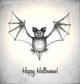 Pipistrello spaventoso in stile schizzo — Vettoriale Stock