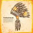Native American indian headdress with feathers — Image vectorielle