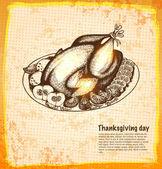 Roast turkey for holiday dinner — Stock Vector