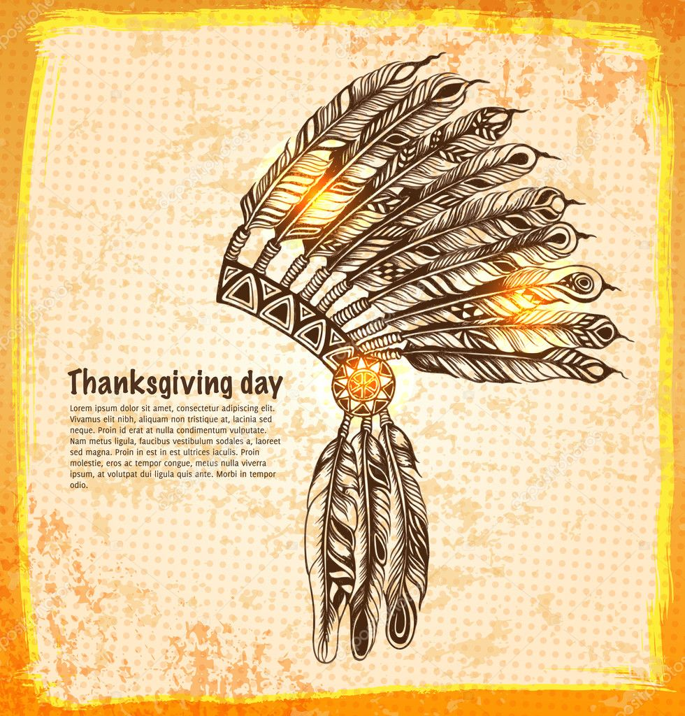 Native American Feather Drawing Native american indian