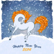 Horse on christmas card — Stock Vector