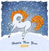 Horse on christmas card — Stock Vector
