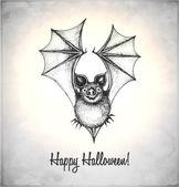 Morcego assustador em um estilo de desenho — Vetorial Stock