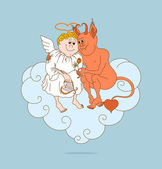 Angel and devil are friends. Valentines Day — Vector de stock