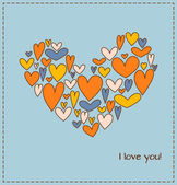 Greeting card with heart composed of a plurality hearts — Stock Vector