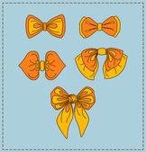 Set of vector bow ties — Stock Vector