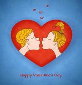 Boy and girl kiss. Valentines day — Stock Vector