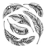 Black-on-white feather shaman circle ornament — Stock Photo