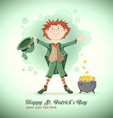 Saint Patrick Day. Leprechaun with magic pot — Stock Vector