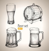 Beer Oktoberfest set: Toby jugs and beer barrel — Stock Vector