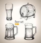 Beer Oktoberfest set: Toby jugs and beer barrel — Stock Vector
