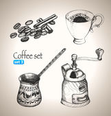 Coffee set: beans, cup, cezve and mill — Stock Vector