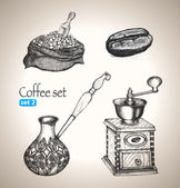 Coffee set: bean, bag, mill, cezve — Stock Vector