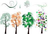 Odmiany drzew stylizowane — Wektor stockowy