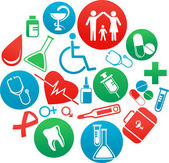 Background with medicine icons and elements — Stock Vector