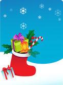 Новогодний фон с носок и подарки — Cтоковый вектор