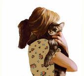 Girl with kitten — Stock Photo