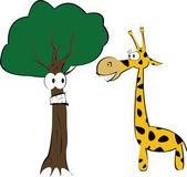 The giraffe and fun tree — Stock Vector