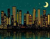 Cartoon night city — Stock Vector