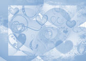 Blue abstract background with hearts — Stock Photo