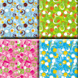 Stock Photo: Abstract background patterns, prints, square, blue, green and pink