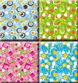 Abstract background patterns, prints, square, blue, green and pink — Stock Photo