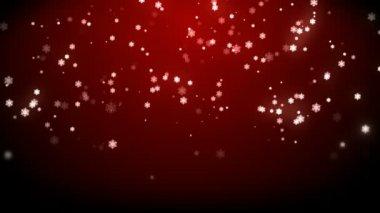 Yüksek çözünürlüklü kırmızı arka plan ile Noel yağmur yıldız — Stockvideo