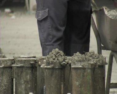 Pieces of concrete filling. Construction. — Stock Video