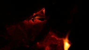 薪の燃える、クローズ アップ. — ストックビデオ