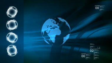 World technologic blue loop background. — Stock Video