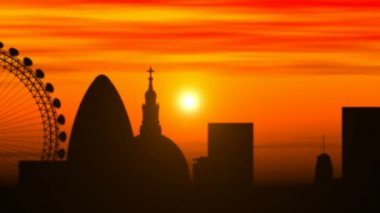 London skyline, timelapse sunset — Stock Video