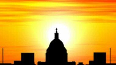Animation of Washington skyline city at sunset, timelapse. — Stock Video