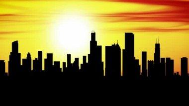 Animazione della città di skyline di chicago al tramonto, timelapse. — Video Stock