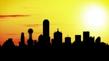 Animation of Dallas skyline city at sunset, timelapse. — Stock Video