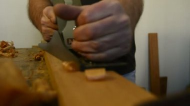 木匠砂光机木工刨床表木材 — 图库视频影像