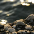 Rocks at sunset with sea — Stock Video