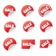 Vector set of red sale icons — Stock Vector