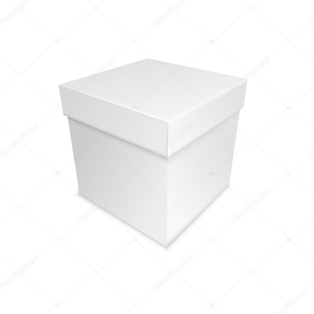 Real grey box with shadows, present for holidays or birsday  Imagens vectoriais em stock #18411135
