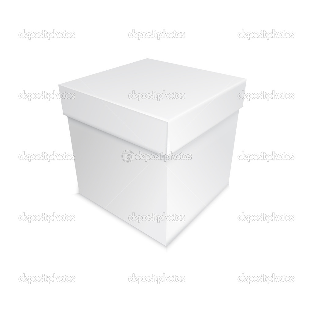 Real grey box with shadows, present for holidays or birsday — Векторная иллюстрация #18411135