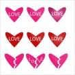 Stock Vector: Vector set of red and pink hearts icons